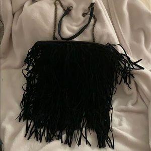 T-Shirt & Jeans brand black fringe shoulder bag